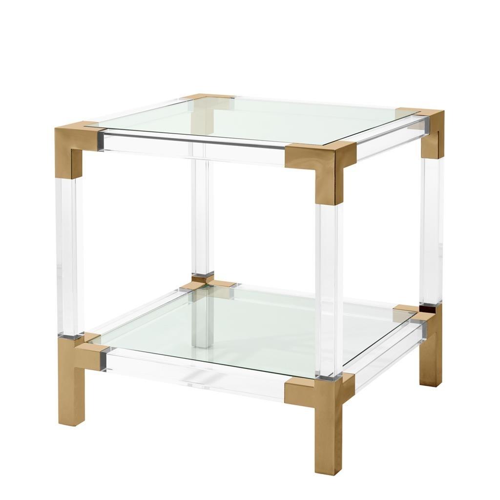 Steel Coffee Table Legs Australia: Royalton Acrylic & Brass Side Table