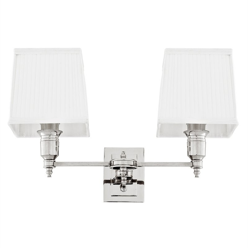 Lexington Nickel Double Wall Lamp With White Shade Shop Now