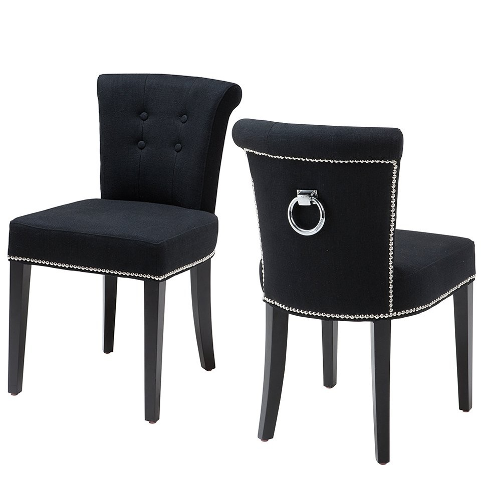 Key Largo Black Linen Dining Chair Shop Now