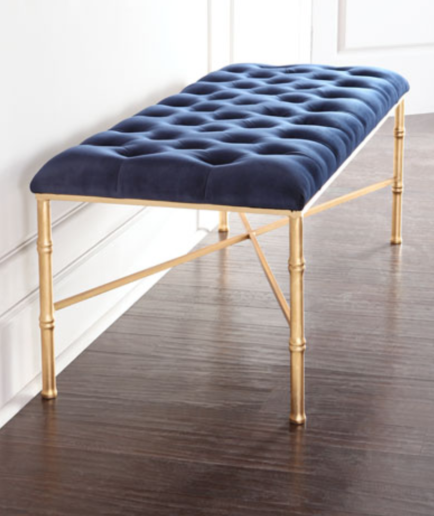 Stella Gold Leaf Amp Navy Velvet Bench Shop Now