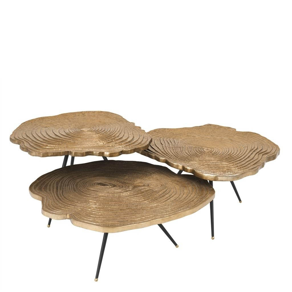 Quercus Brass Coffee Tables Set Of 3 Shop Online Now Regency Distribution