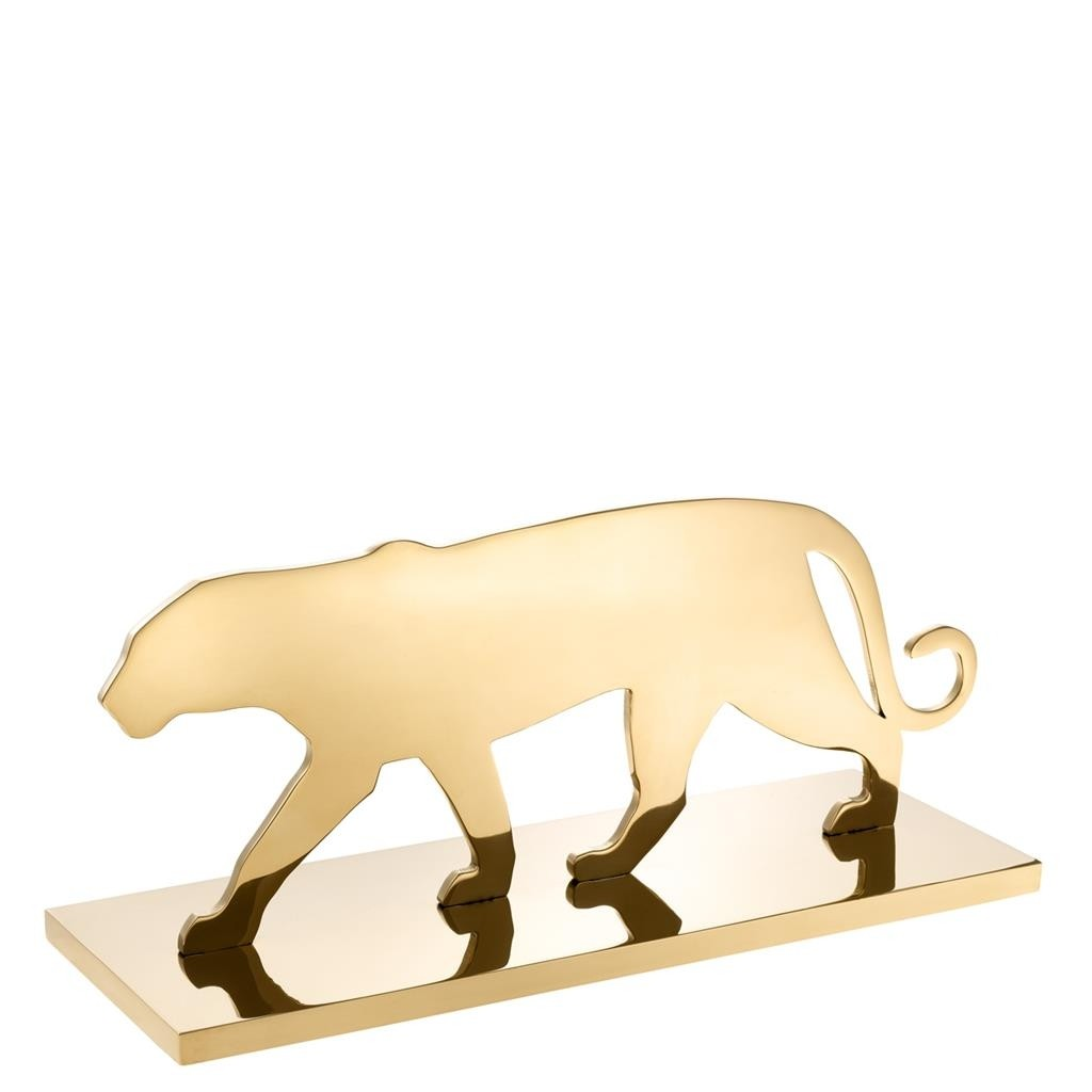 Panther Silhouette Brass Plated Statue