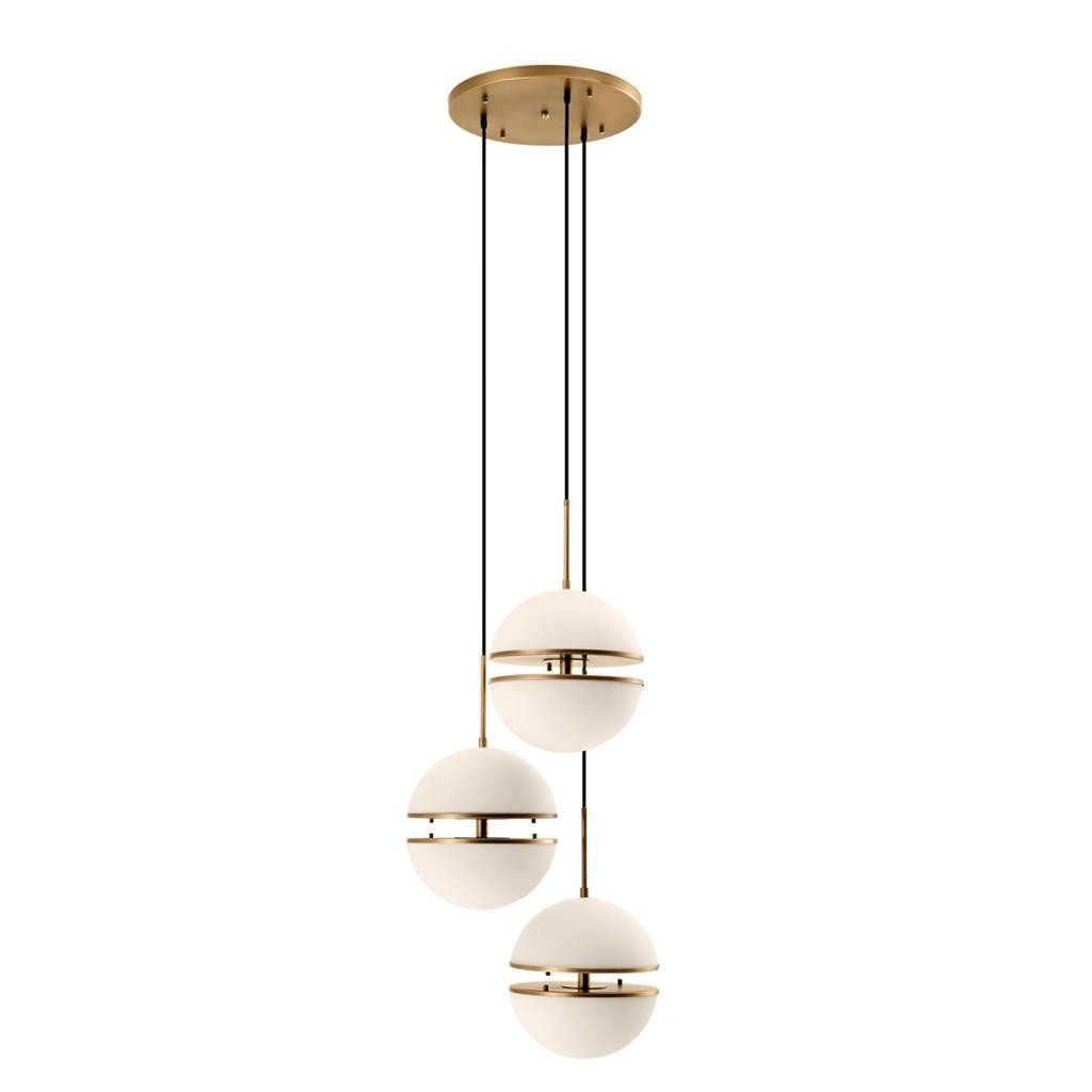 Spiridon Antique Brass Triple Hanging Lamp
