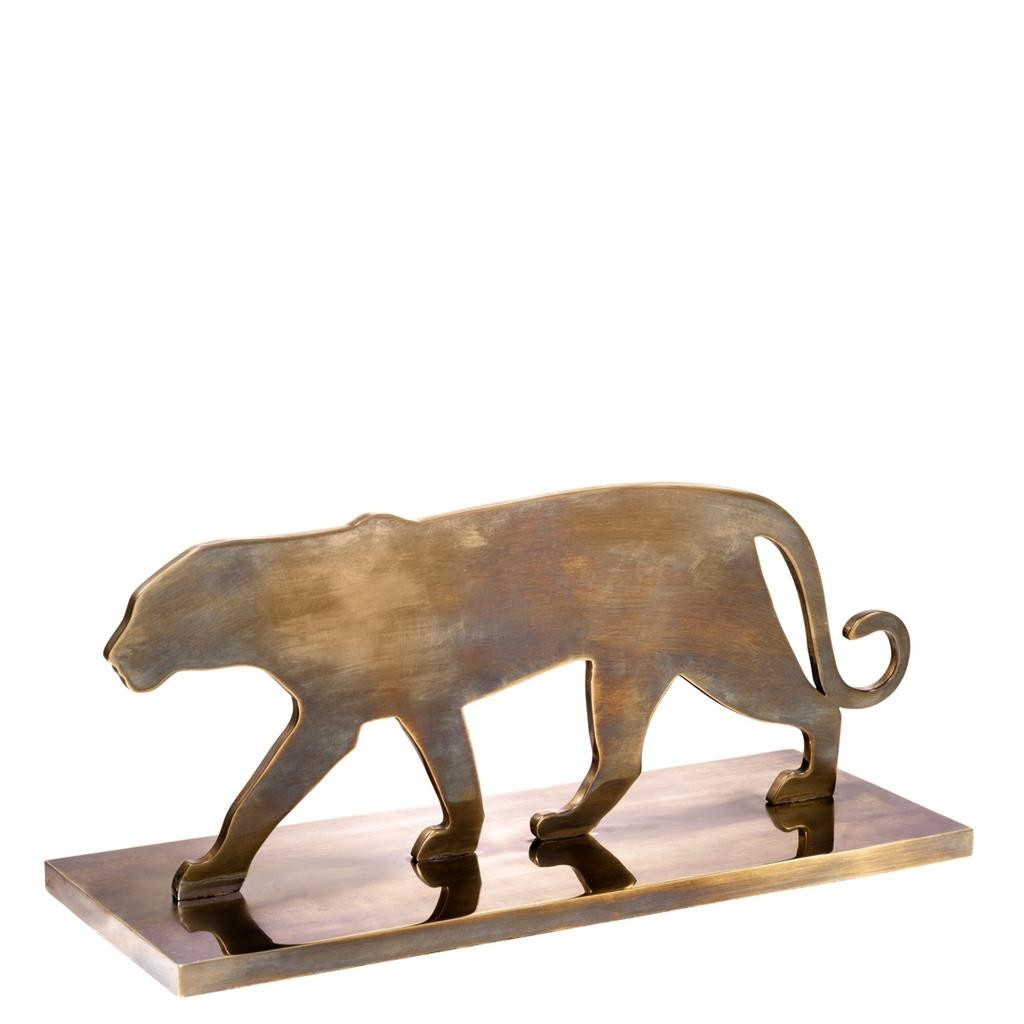 Panther Silhouette Brass Statue
