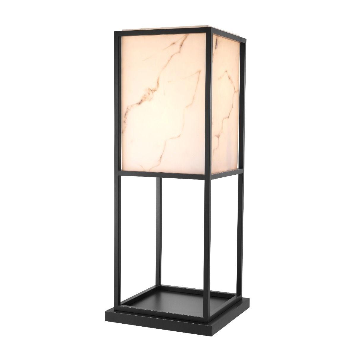 Barret Black & Faux Alabaster Floor Lamp