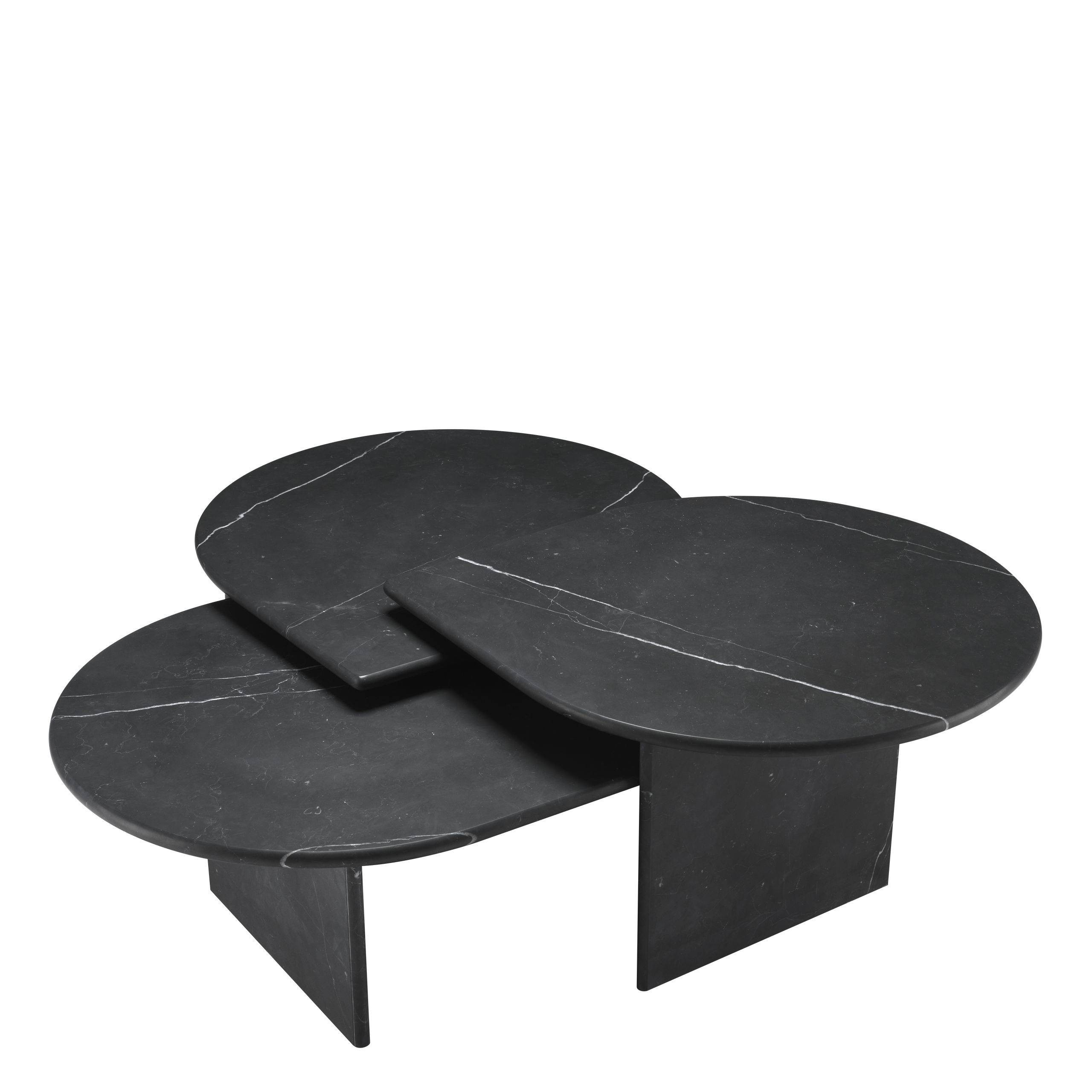 Naples Honed Black Marble Coffee Table - Set of 3