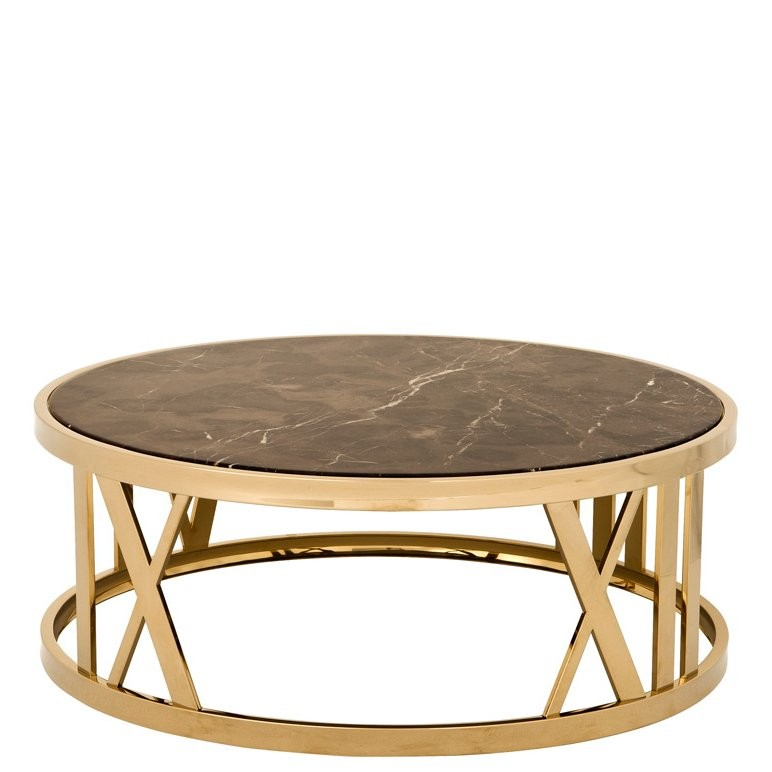 Gold Coffee Table With Stone Top: Baccarat Gold & Brown Marble Coffee Table