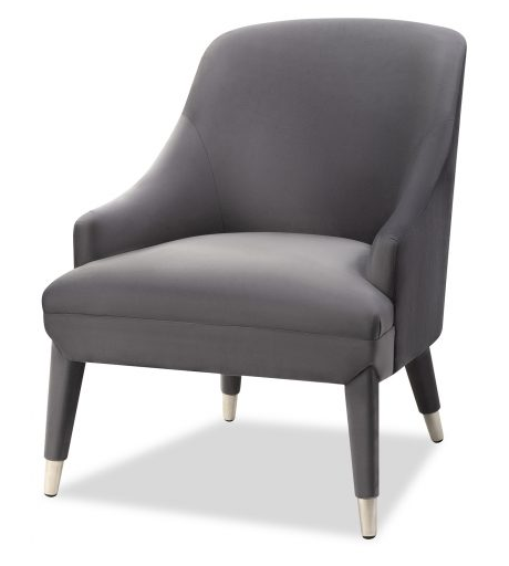 Sylvia Night Grey Velvet Armchair