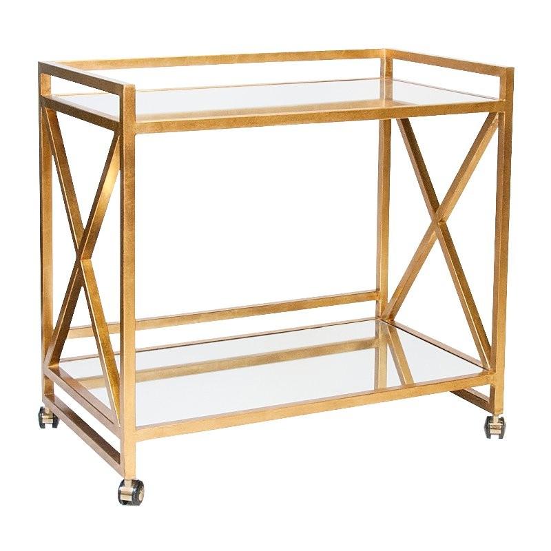 Worlds Away Gerard Gold Leaf Bar Cart