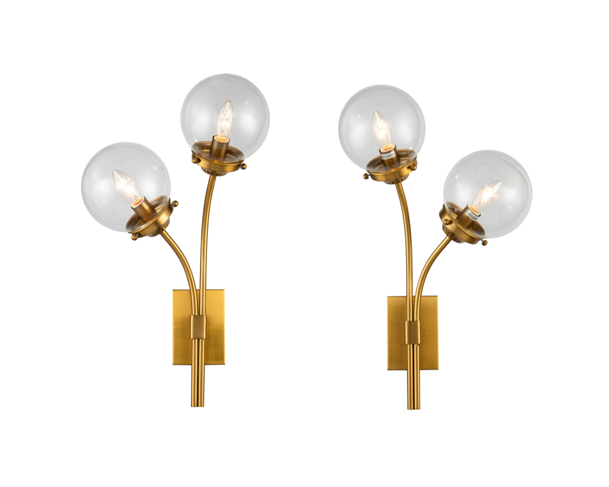 Opal Brass & Clear Glass Wall Lamp - Set of 2