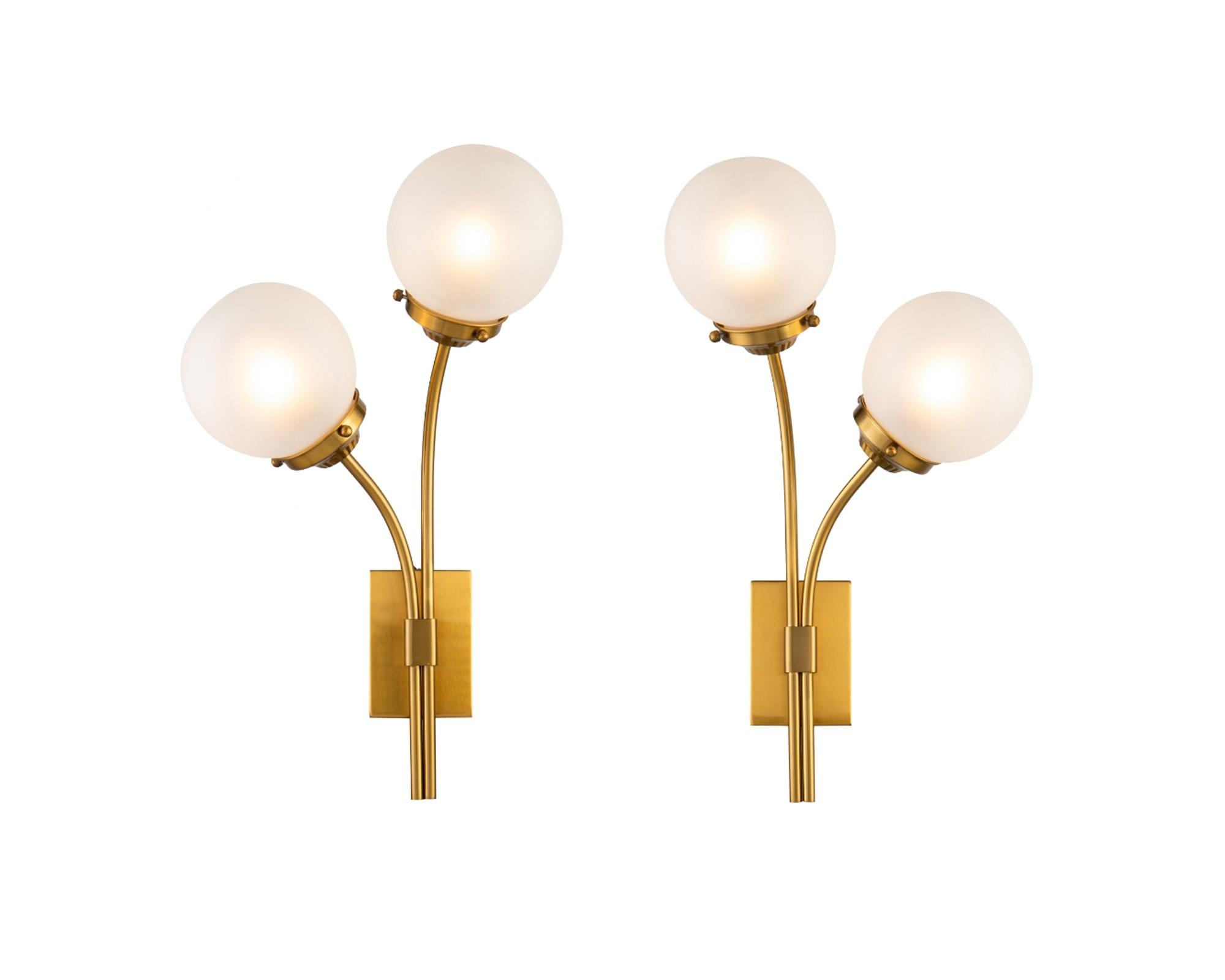 Opal Brass & White Glass Wall Lamp - Set of 2