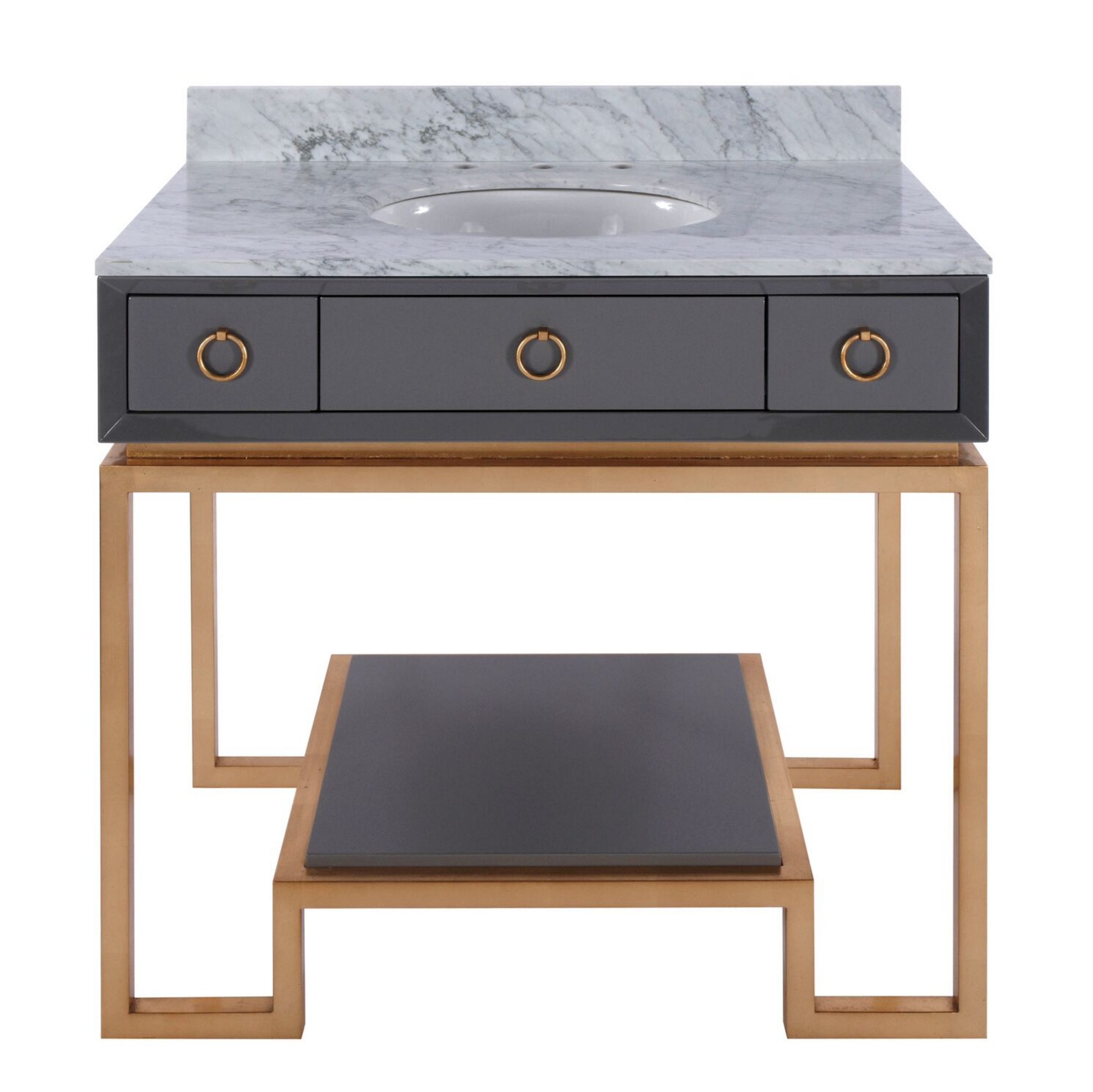Owen Grey Amp Gold Vanity With White Marble Top Shop Now