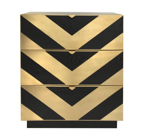 Unma Black Ash & Brushed Brass Chest