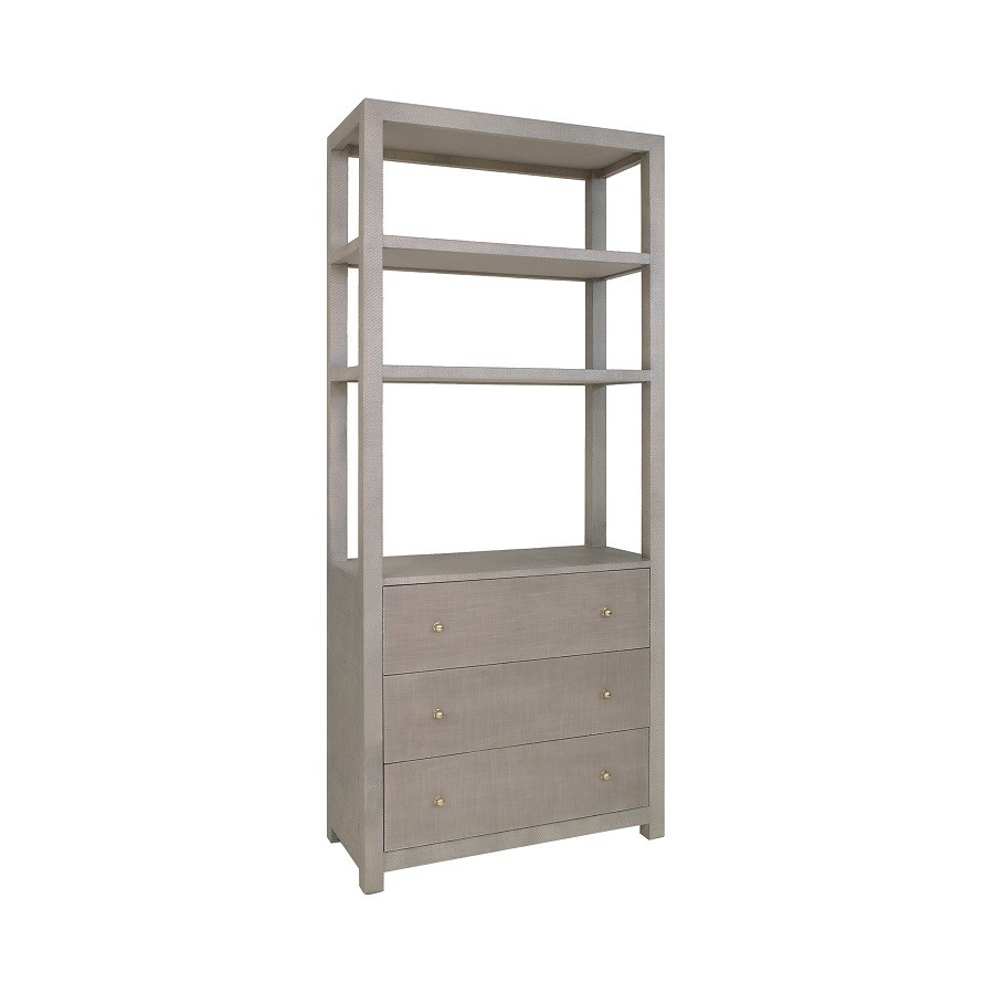 Worlds Away Silas Grey Grasscloth Etagere