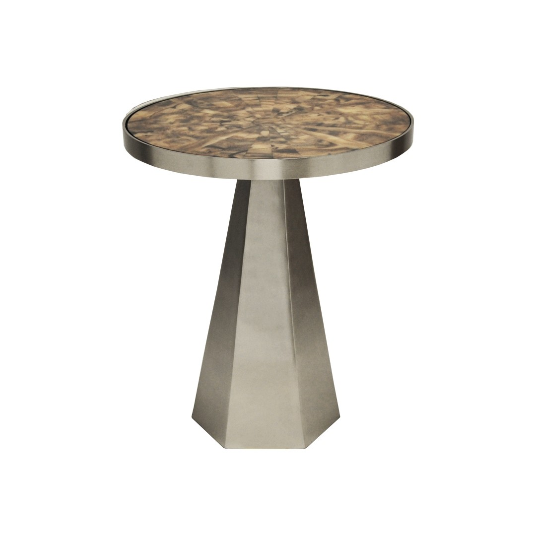 Woodrow Nickel Side Table with Radial Horn Top
