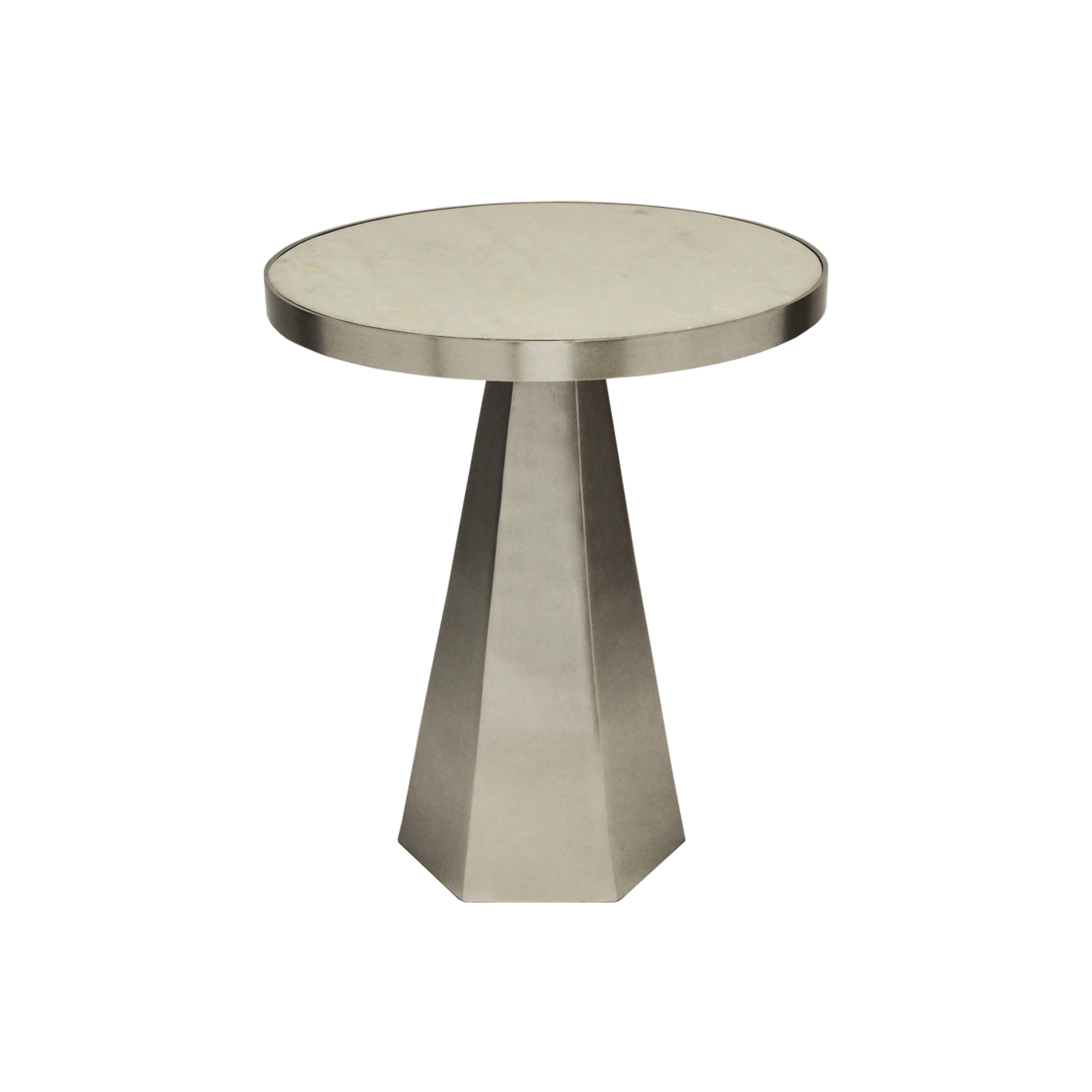 Woodrow Nickel Side Table with White Marble Top