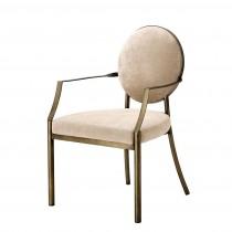 Scribe Dark Brass & Greige Velvet Dining Armchair