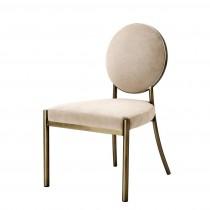 Scribe Dark Brass & Greige Velvet Dining Chair