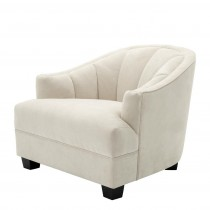 Eichholtz Polaris Scalloped Chair Ecru Velvet