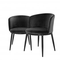 Eichholtz Filmore Cameron Black Dining Chair Set of 2