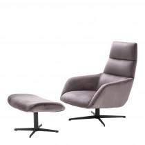 Eichholtz Nautilus Roche Taupe Velvet Swivel Chair & Ottoman