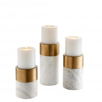 Sierra Set of 3 Brass & Clear Crystal Candle Holders