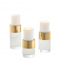 Sierra Set of 3 Gold & Clear Crystal Candle Holders