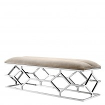 Trellis Polished Stainless Steel Bench with Pebble Grey Seat