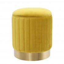 Allegra Roche Yellow Velvet Stool