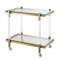 Royalton Clear Acrylic & Brushed Brass Trolley