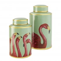 Flamingo Set of 2 Porcelain Jars
