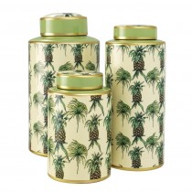 Pineapple Set of 3 Porcelain Jars