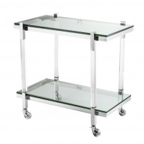 Royalton Clear Acrylic & Polished Stainless Steel Trolley
