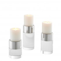 Sierra Set of 3 Nickel & Clear Crystal Candle Holders