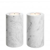 Tobor Medium White Marble Set of 2 Tealight Holder