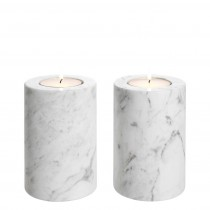 Tobor Small White Marble Set of 2 Tealight Holder