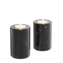 Tobor Small Black Marble Set of 2 Tealight Holder