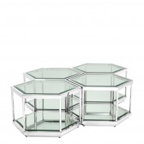 Sax Set of 4 Polished Stainless Steel Coffee Tables