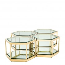 Sax Set of 4 Gold Coffee Tables