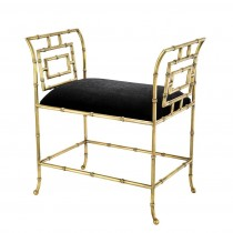 Bonita Brass & Black Velvet Bench