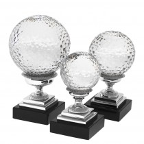 Divani Set of 3 Nickel & Glass Objects