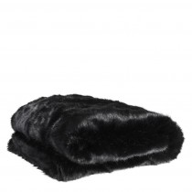Alaska Black Faux Fur Throw