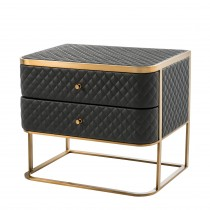 Monfort Black Faux Leather Bedside Table