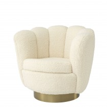 Mirage Faux Shearling Swivel Armchair