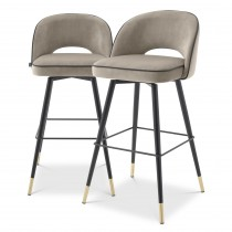 Cliff Savona Greige Velvet Bar Stool - Set of 2