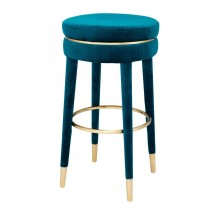 Parisian Catania Blue Velvet Bar Stool