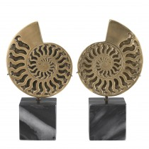 Ammonite Vintage Brass Object on Black Marble Base - Set of 2