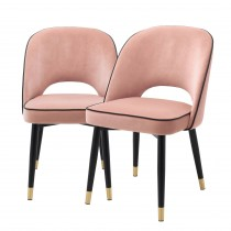 Cliff Savona Nude Velvet Dining Chair - Set of 2