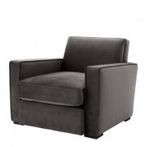 Edmond Savona Grey Velvet Armchair