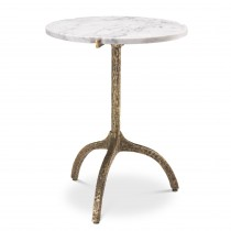 Cortina Vintage Brass & White Marble Side Table